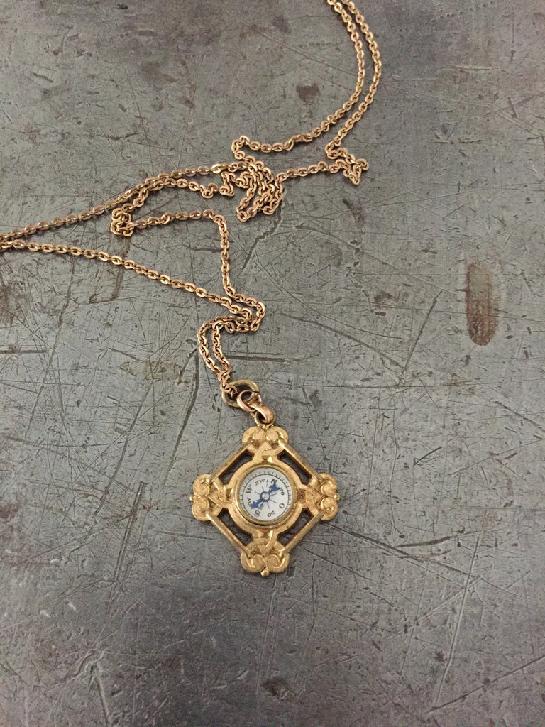 Vintage Victorain Gold Compass Dog Fob Necklace
