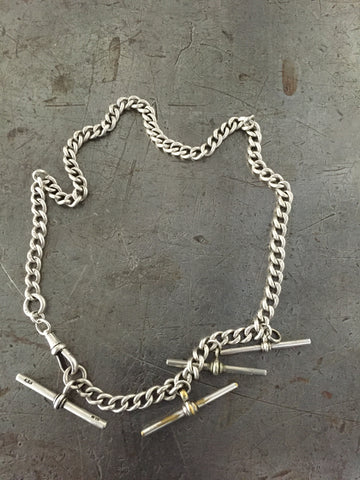 Vintage Sterling 4 T-Bar Fob Chain Necklace