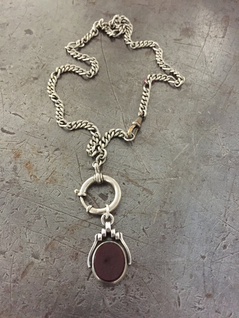 Vintage sterling double sided bloodstone & carnelain spinner fob on silver pocket watch chain necklace