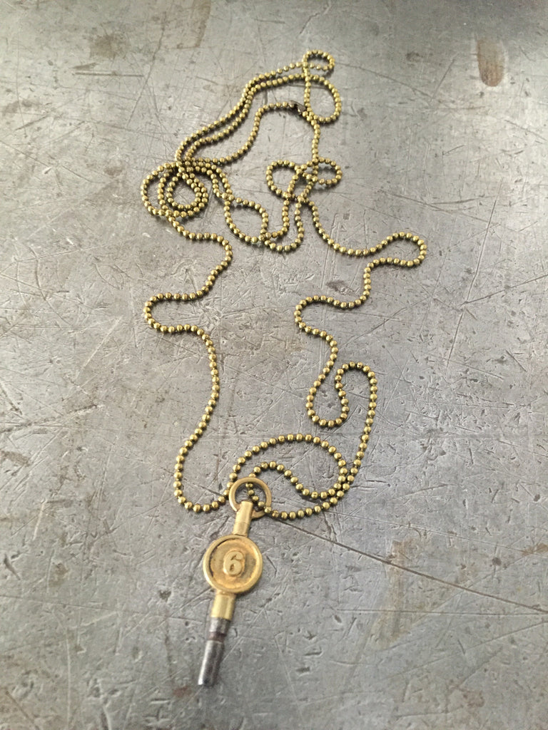 Vintage #6 pocket watch key necklace
