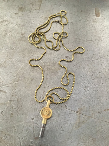Vintage Brass #6 Pocket Watch Key Necklace