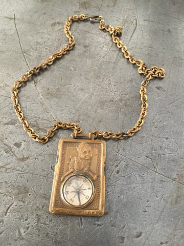 Vintage Brass Compass Advertising Brown Shoe Co.Necklace