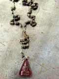vintage brown wood Rosary beads with vintage bronze buddha pendant necklace