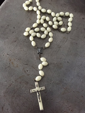 "Vintage Long ""Glow"" In the Dark Rosary Bead Necklace"