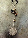 Vintage Coin & Brown Rosary Necklace