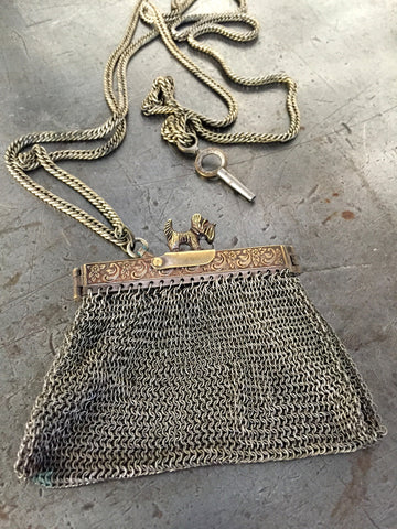 "Vintage Mesh Victorian ""Scotty"" Coin Purse & Key Necklace"