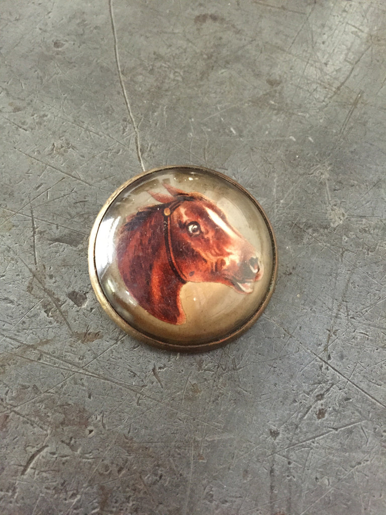 Vintage Brown Horse Rosette Pin