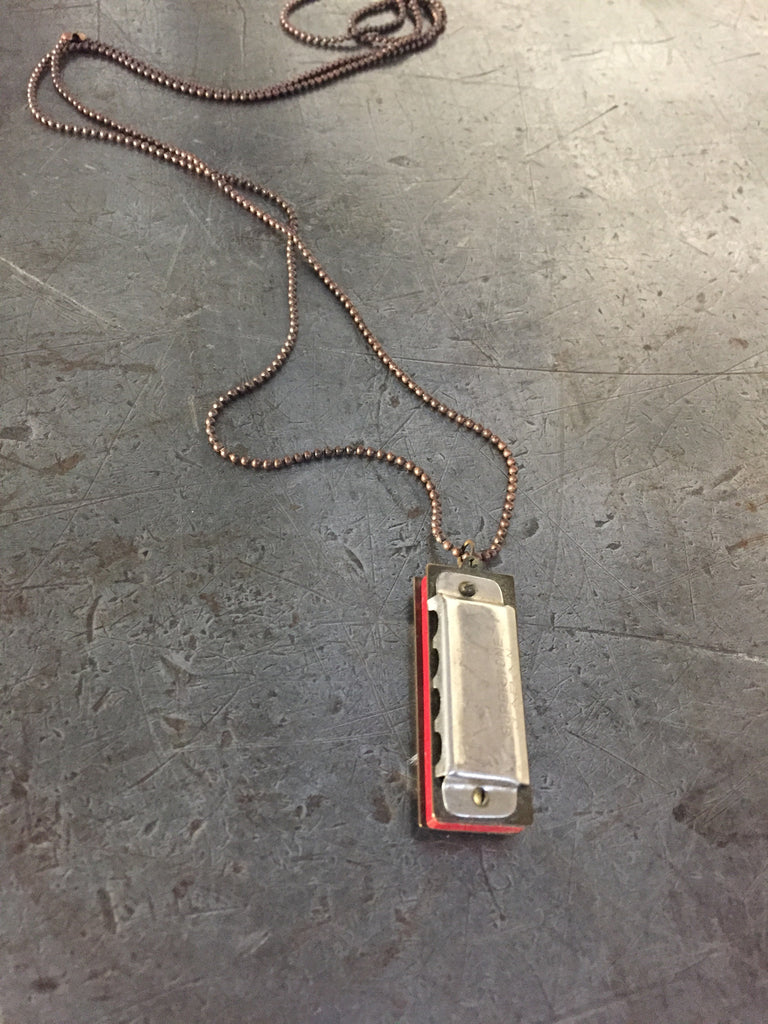 vintage mini harmonica on ball chain necklace