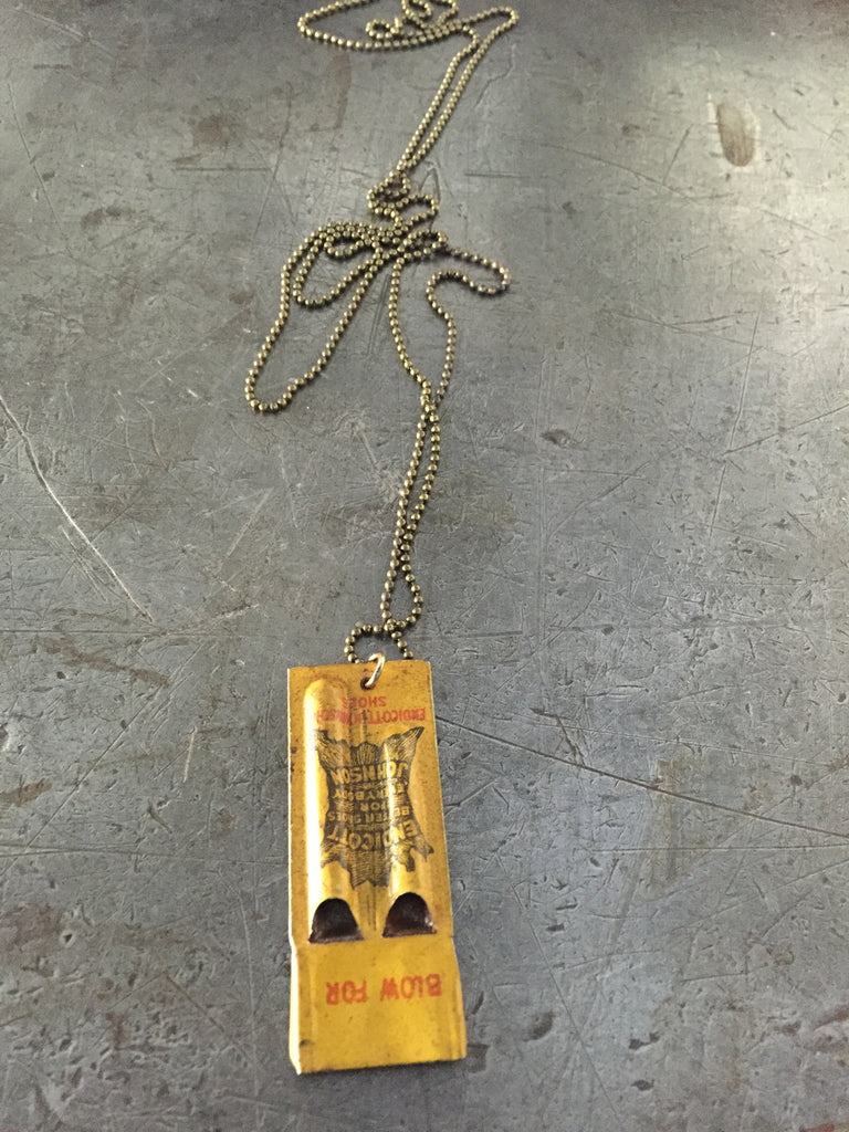 vintage advretising shoe company whistle on ball chain necklace