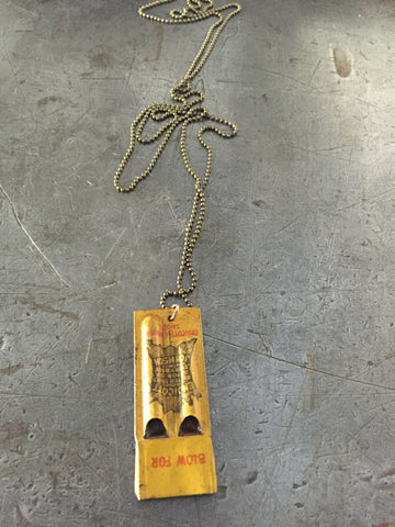 Vintage Advertising Whistle Necklace