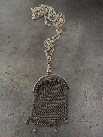 Vintage Victorian Silver Coin Purse Necklace