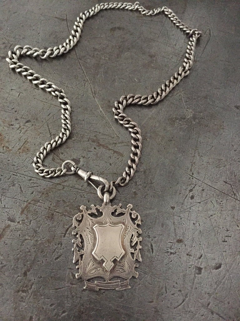 Vintage 1800's Victorian engraved fob on vintage graduated sterling silver Albert chain necklace