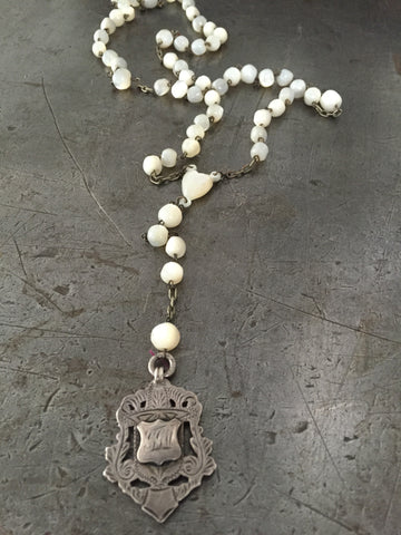 Vintage Double Sided 1913 Fob Mother of Pearl Rosary Necklace