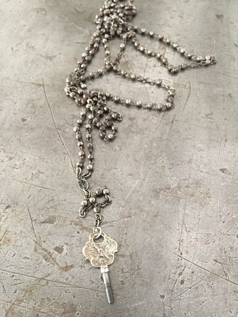 Vintage Silver Pocket Watch Key on Long Vintage Silver Bead Rosary Necklace