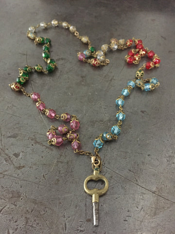 Vintage Key & Multi Color Rosary Bead Necklace