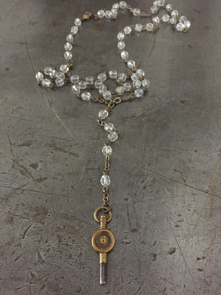 Vintage Crystal Rosary & #6 Pocket Watch Key Necklace