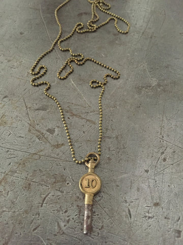 Vintage Brass #10 Pocket Watch Key Necklace