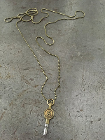 Vintage Brass #8 Pocket Watch Key Necklace