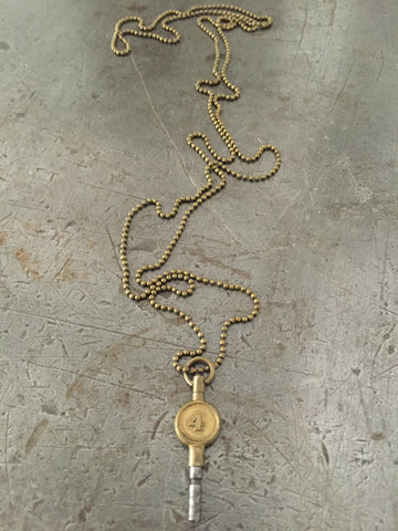 Vintage Brass #4 Pocket Watch Key Necklace
