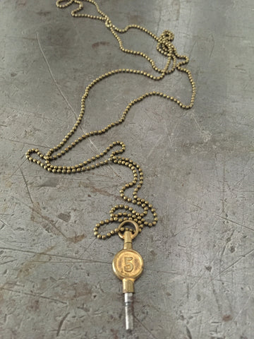 Vintage Brass #5 Pocket Watch Key Necklace