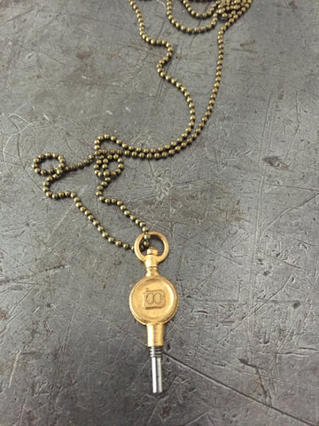 Vintage Brass #00 Pocket Watch Key Necklace