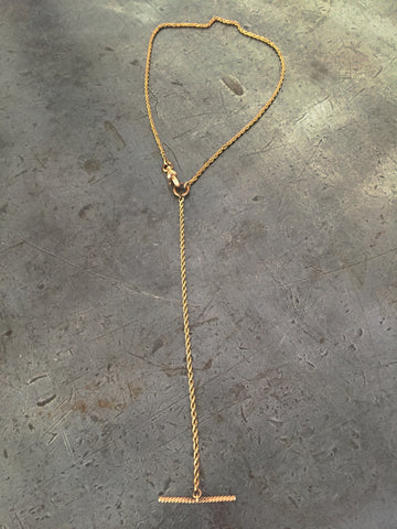 Vintage Gold Rope Chain & T-Bar Fob Necklace