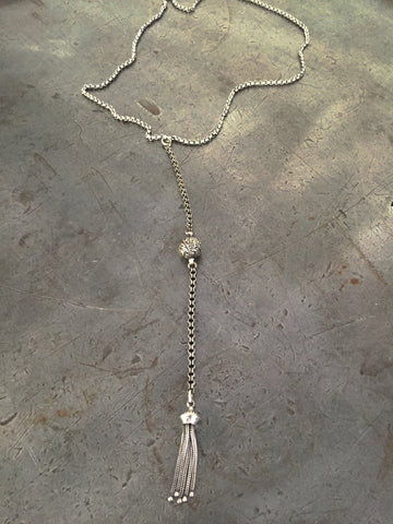 Vintage Sterling Victorian Tassel Necklace