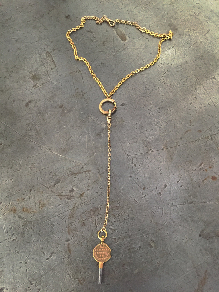 Vintage Gold Pocket Watch Chains & Jewelers Key Necklace