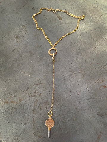 Vintage Gold Pocket Watch Chain & Key Necklace