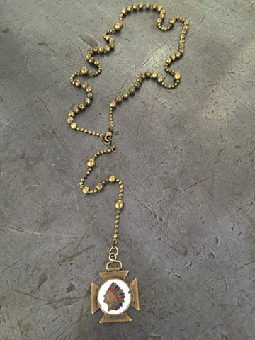 Vintage Brass Military Rosary Beads & Indian Head Fob Necklace