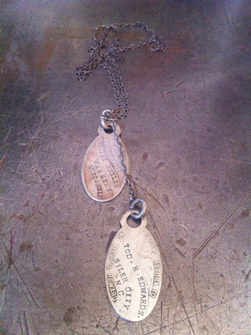 Vintage WW1 I.D. Tags on Sterling Military Chain Necklace