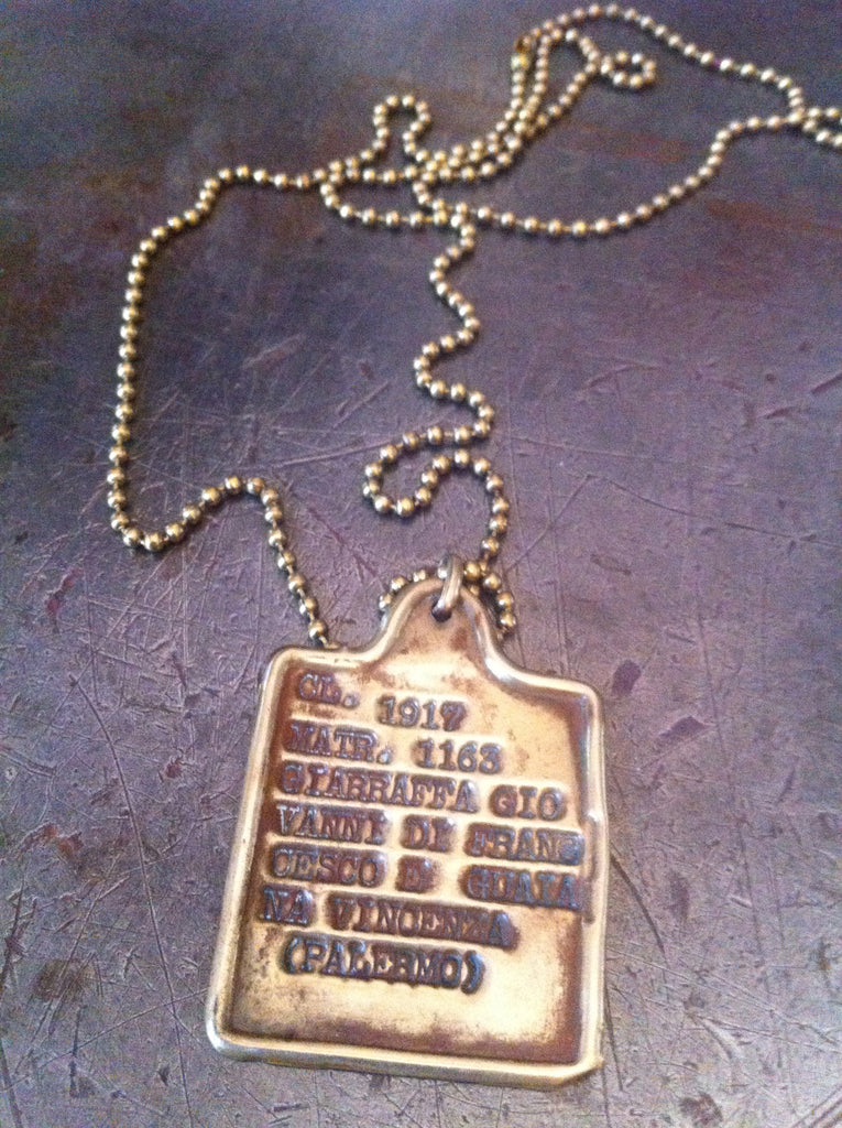 Vintage WW1 1917 gold Italian dog tag necklace
