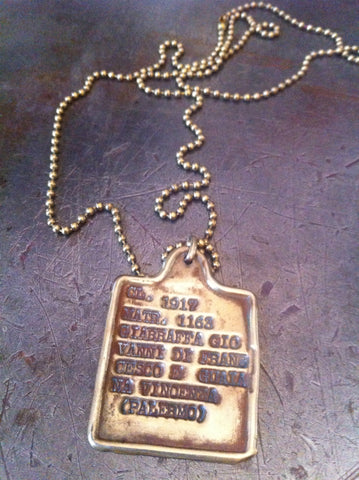 Vintage Italian WW1 1917 Dog Tag Necklace