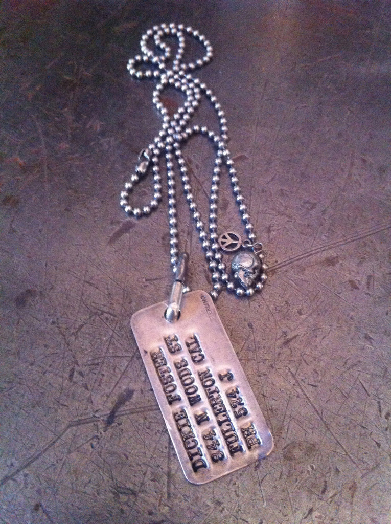 Sterling WW1/WW2 military dog tag neclace with peace & skull charms