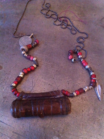 Vintage Prayer Pouch with Vintage Trading Bead Necklace