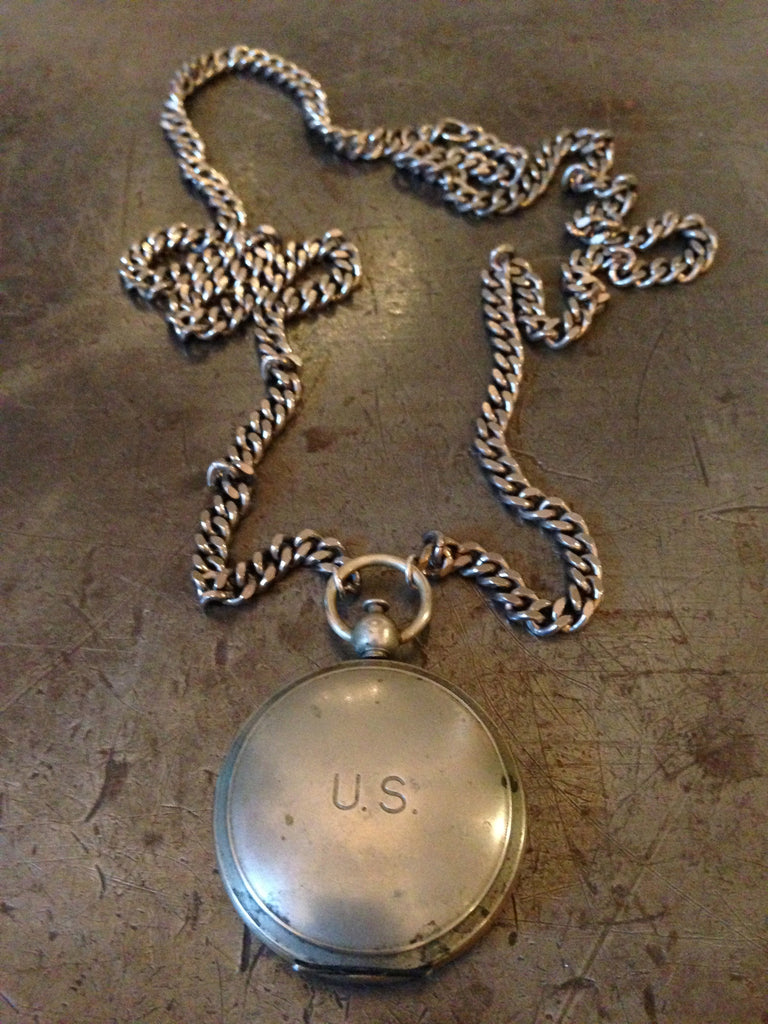 Vintage US military compass on silver chain necklace