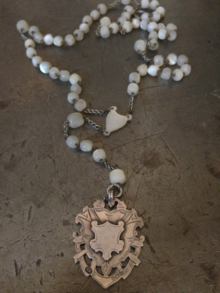 Vintage large sterling hallamrked Victorain fob on vintage sterling silver & mother of pearl Rosary bead necklace