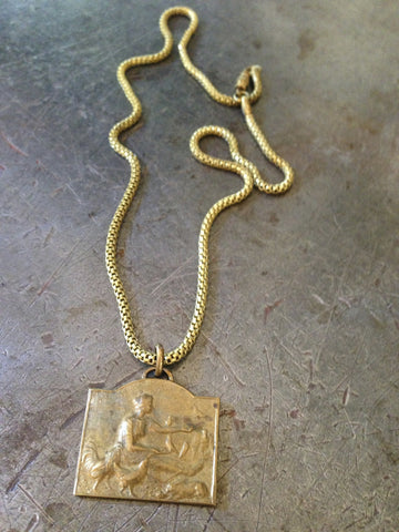 Vintage Brass Woman & Birds Medal Necklace
