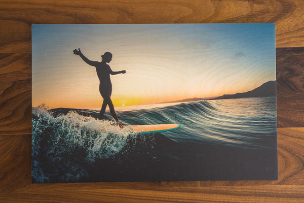 Slide Into Sunset- Wood Print