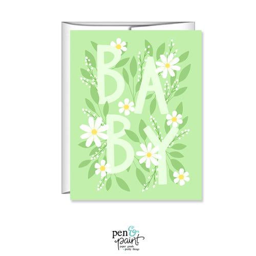 Pen & Paint - Floral Baby Shower Card Gender Neutral