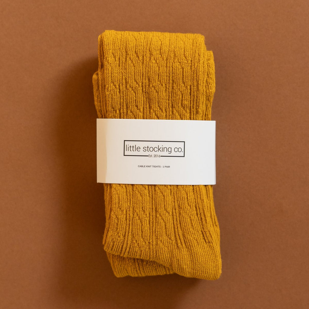 Little Stocking Co-Golden Yellow Cable Knit Tights