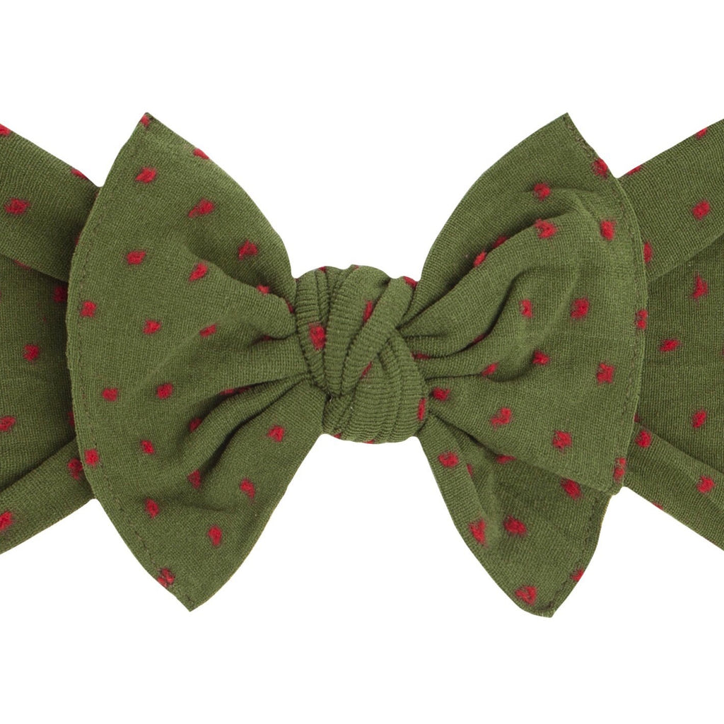 Baby Bling - Patterned Shabby Knot - Hunter Red Dots