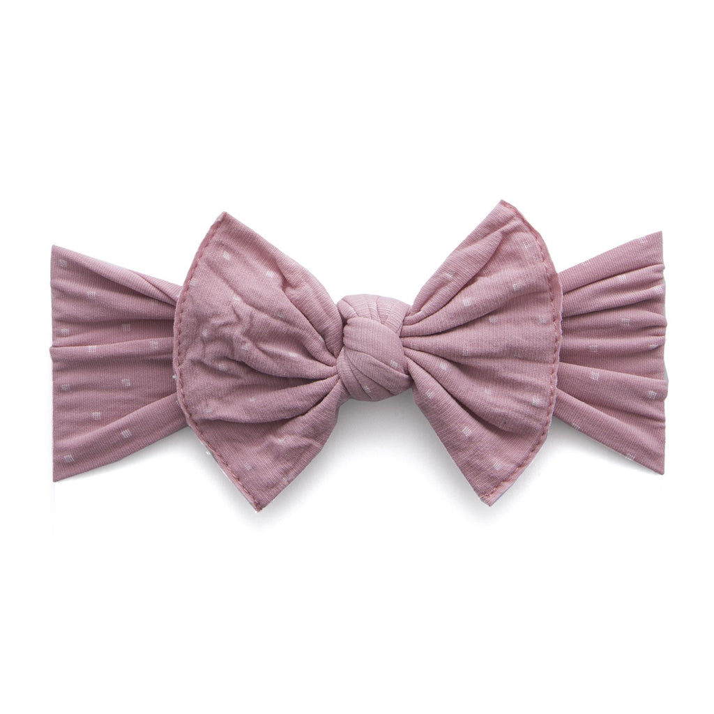 Baby Bling Patterned Shabby Knot - Mauve Dot