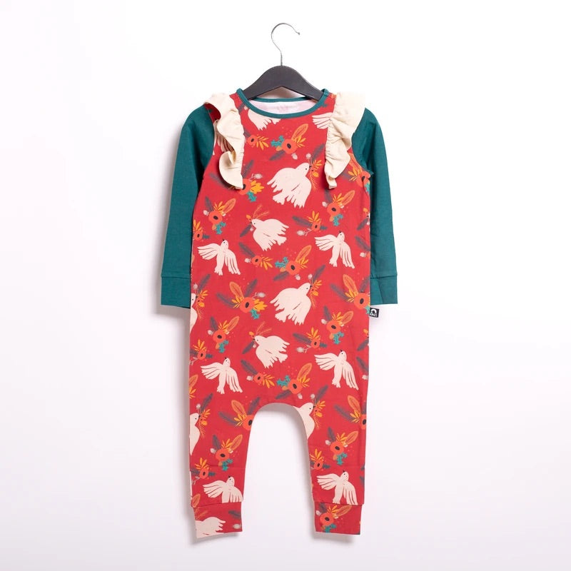 RAGS - Long Sleeve Ruffle Rag Romper - Christmas Dove Floral