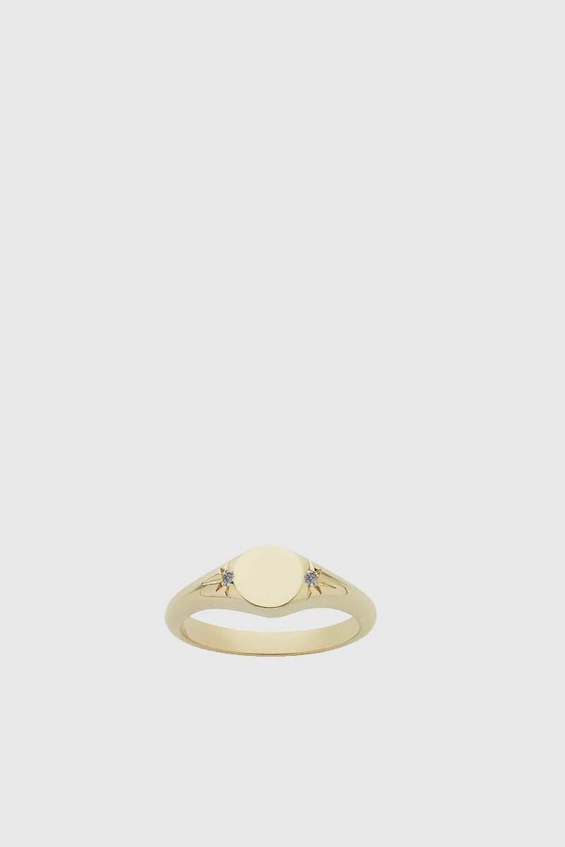 Classic Signet Ring - Gold Plated/Grey Diamond