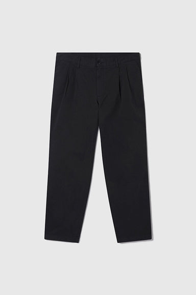 Double Pleat Chino - Black Twill