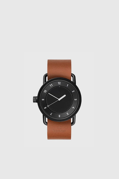 No. 1 40mm - Black / Tan Leather Wristband