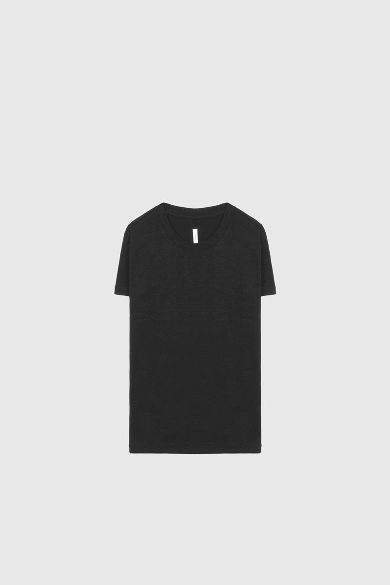 Crew Neck Short Sleeve Tee - Black