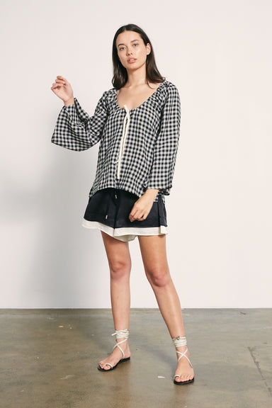 Blair Top - Black / Natural Check