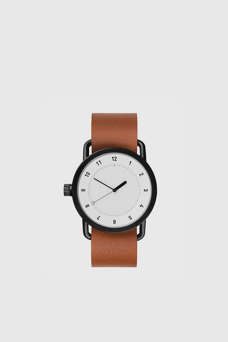 No. 1 40mm - White / Tan Leather Wristband